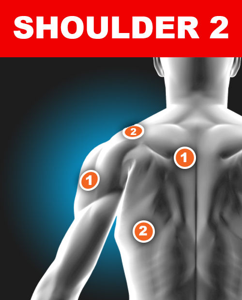 Shoulder 2 - Electronic Muscle Stimulation pad placement for TENS Pain Relief
